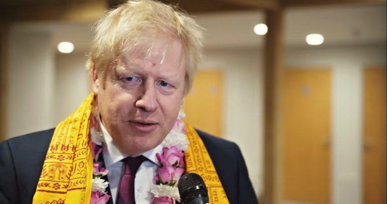 Boris Johnson vchrámu hnutí Hare Krišna