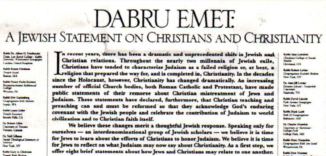 Prehlásenie Dabru emet podvadsiatich rokoch